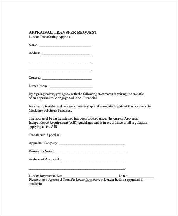 appraisal transfer letter in pdf