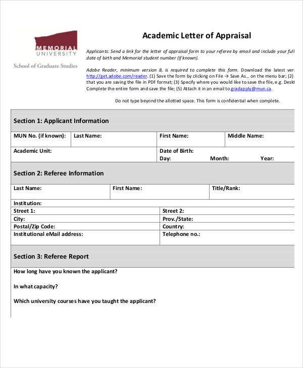 academic appraisal requirement letter template