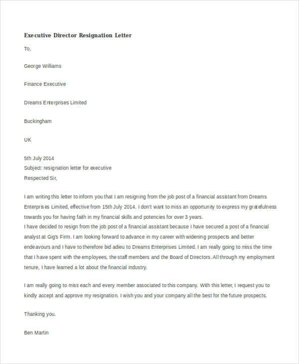 executive director resignation letter
