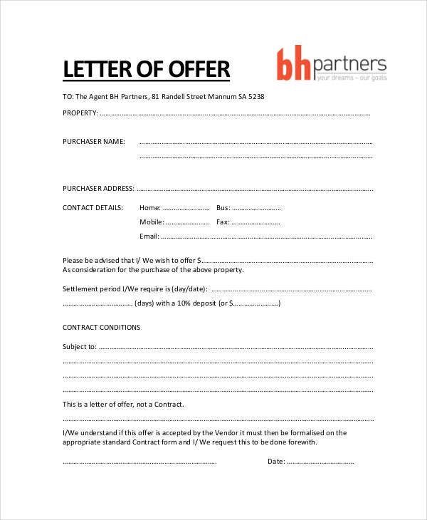 Property Offer Letter Templates   Free Word Pdf Format