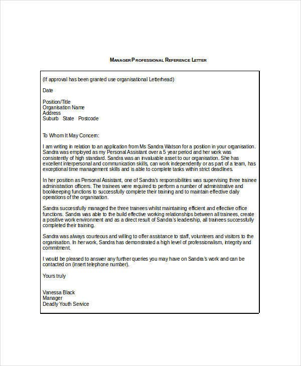 Manager Reference Letter Templates   Free Word Format Download