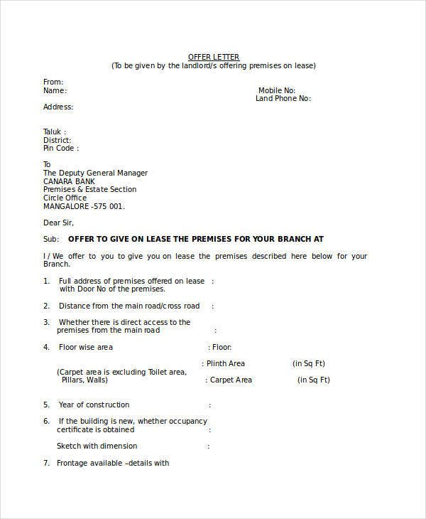 Property Lease Offer Letter Template
