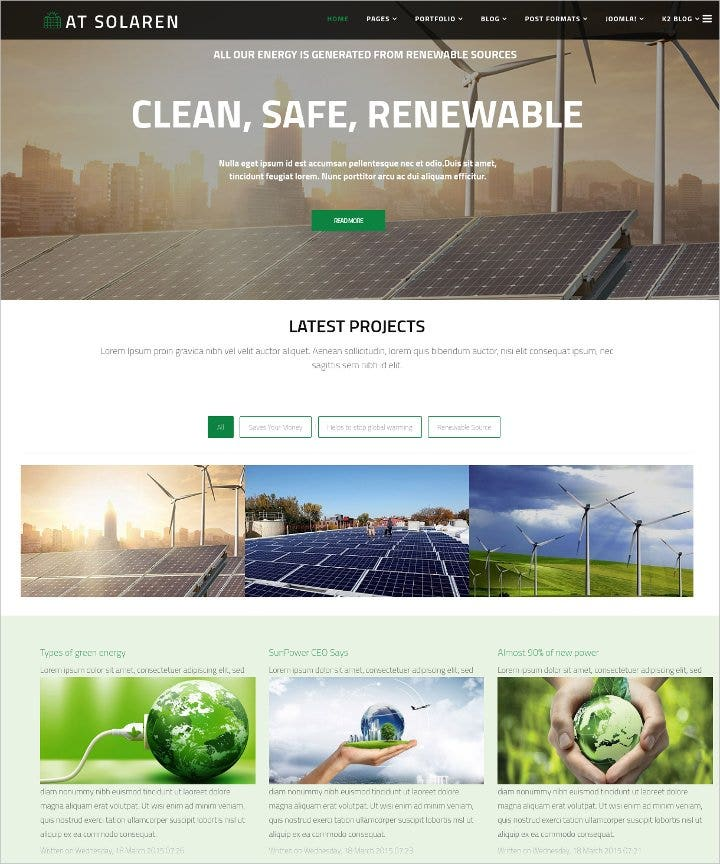 clean and minimal solar energy joomla template1