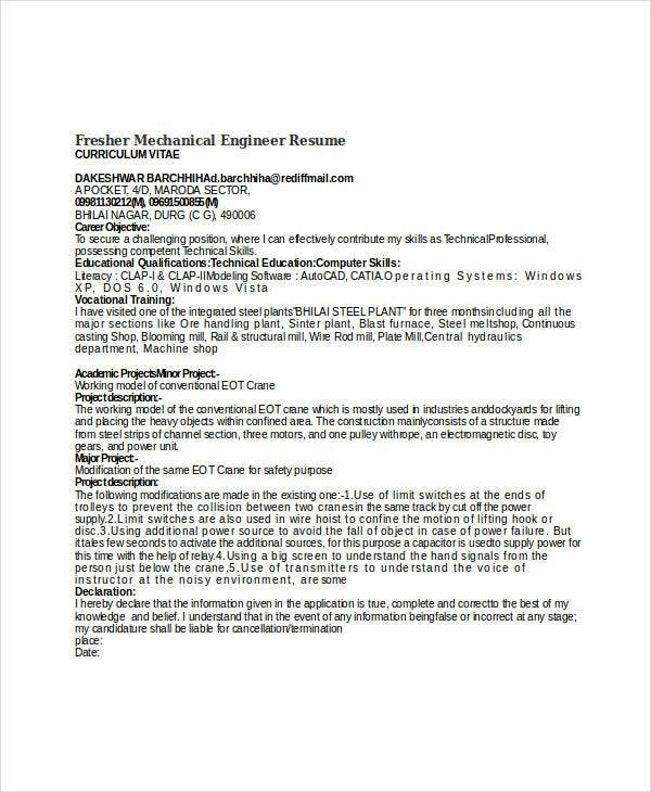 fresher mechanical engineer resume template