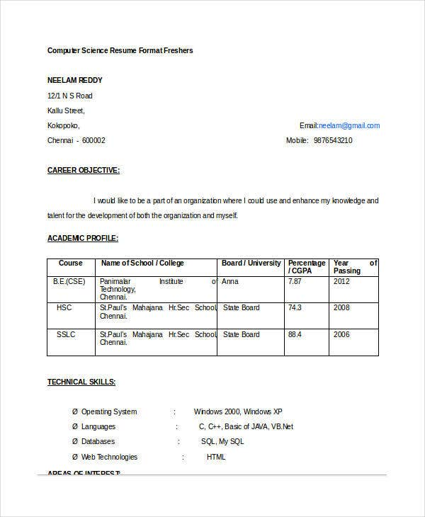 resume samples for it engineers freshers - 2 freshers resume for computer engineers