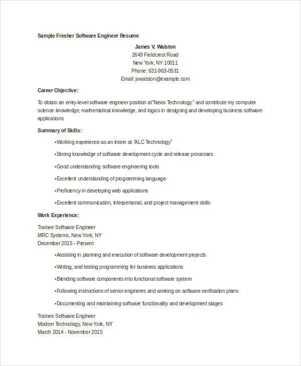 sample resume for fresher software engineer fresher