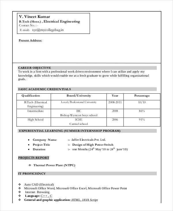 Perfect Fresher Electrical Engineer Resume Example