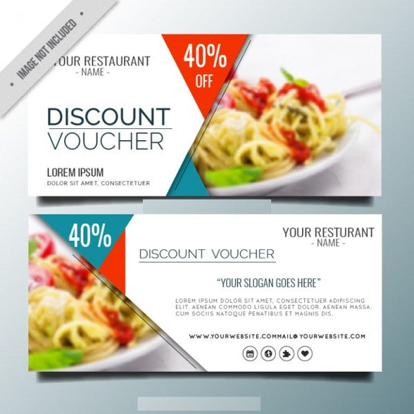 Elegant Restaurant Discount Voucher Template  Lunch Voucher Template
