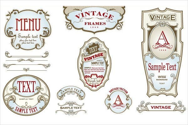vintage bottle vector labels set