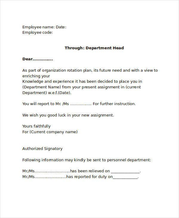 Internal Transfer Letter Format