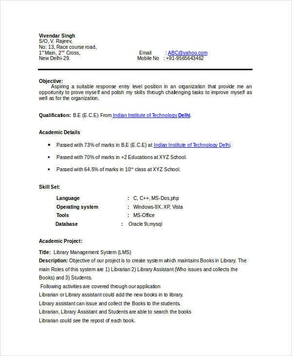 Basic Fresher Resume Templates   Free Word Pdf Format Download