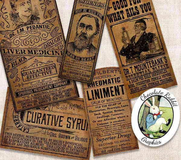vintage medicine bottle label template