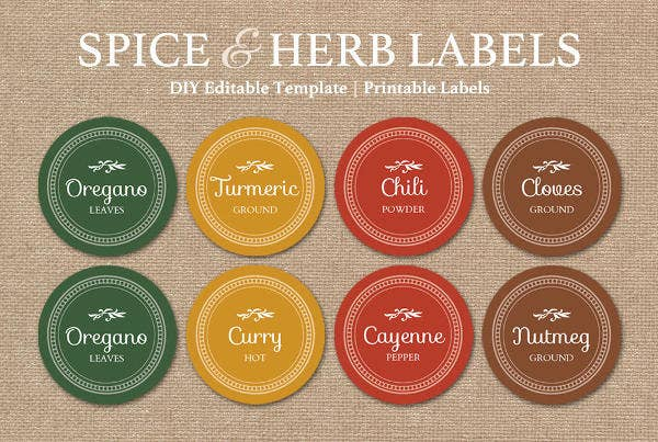 round spice jar product label