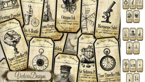 12  vintage bottle label templates