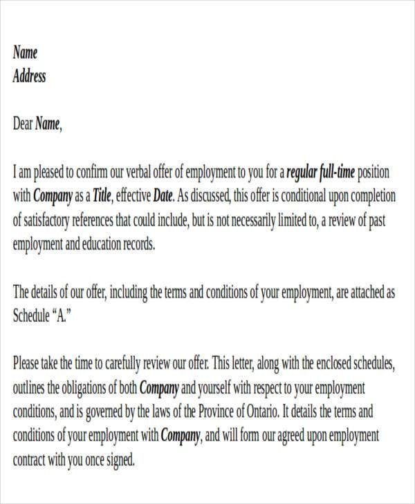 Contract Offer Letter Templates   Free Word Pdf Format