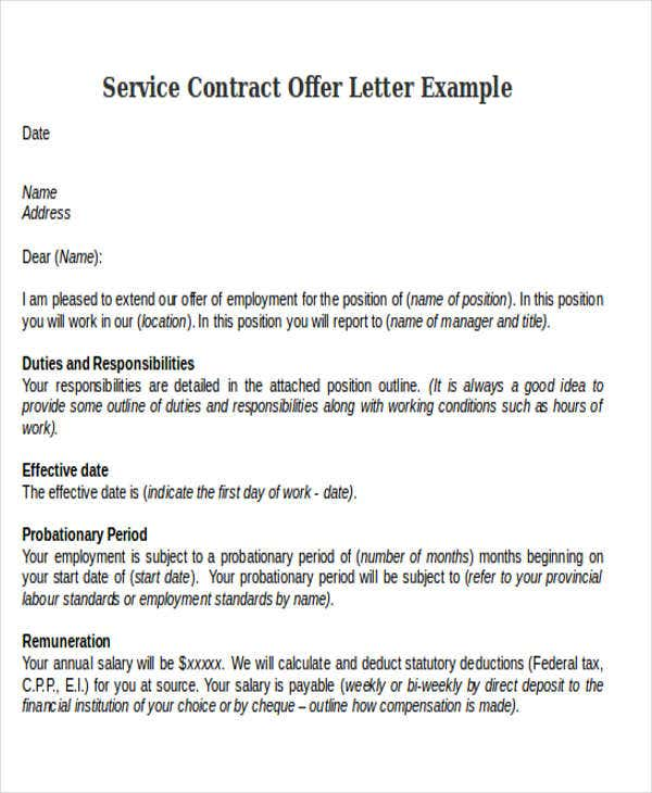 Contract offer letter templates 9 free word pdf format download service contract offer letter example cfib fcei altavistaventures Images