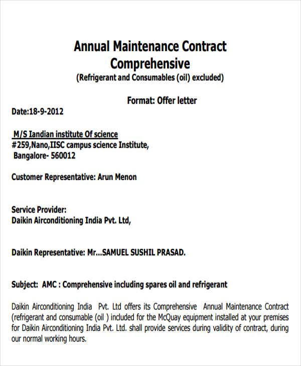 yearly contract templates