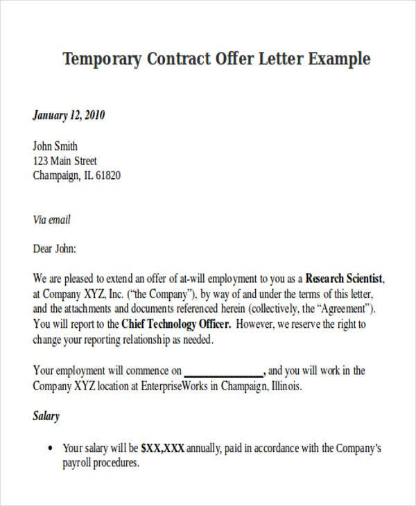 Contract offer letter templates 9 free word pdf format download temporary contract offer letter example researchparklinois altavistaventures Images