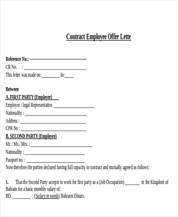 contract employee offer letter template