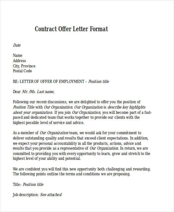 Contract Offer Letter Templates 9 Free Word PDF Format – Format for Contract