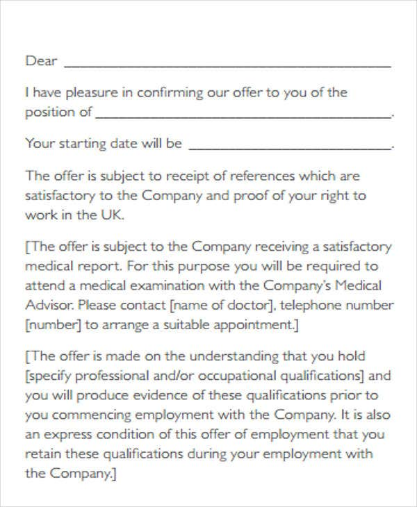 Contract Offer Letter Templates 9 Free Word PDF Format Download