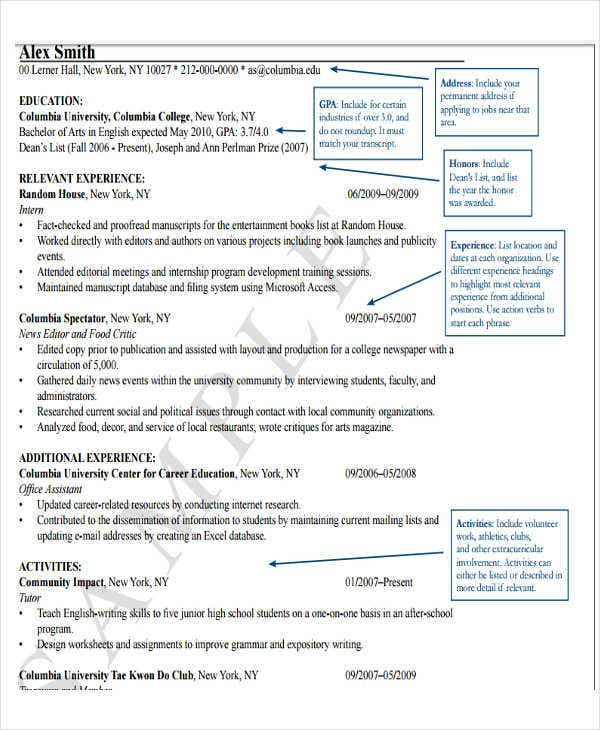 resume format for fresher lecturer