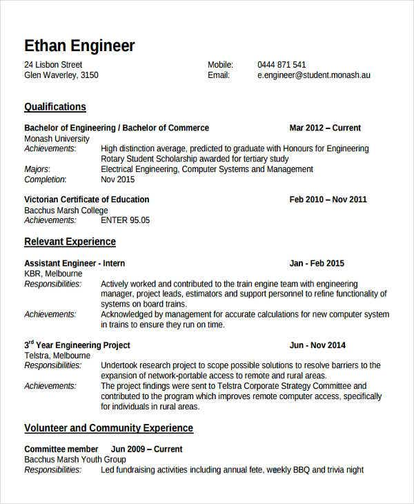engineering professor resume