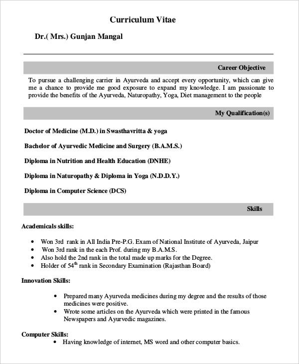 BAMS Fresher Doctor Resume Template
