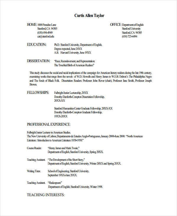 Resume Format For Lecturer Job