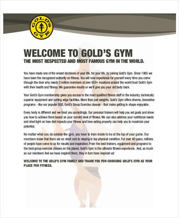 gym membership offer letter template