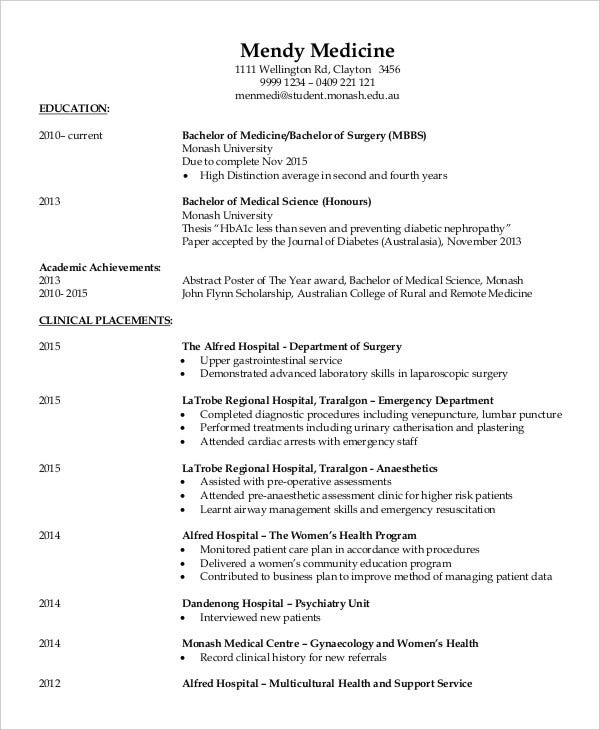 Fresher doctor resume 3 free word pdf documents for Cv template for physicians