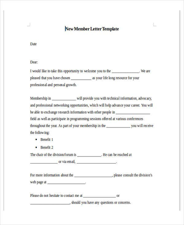 new membership offer letter template