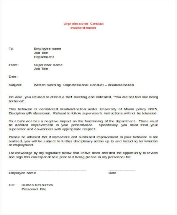 Safety Warning Letter Template   Free Word Pdf Format Download