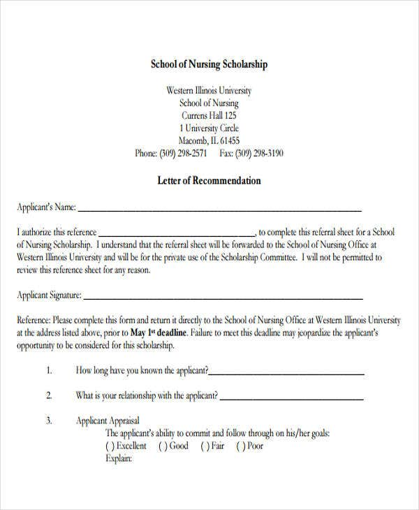 Nursing reference letter templates 8 free word pdf for Scholarship guidelines template