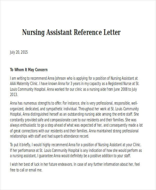 Nursing Assistant Reference Letter Example
