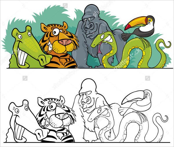 jungle-animal-coloring-page-template