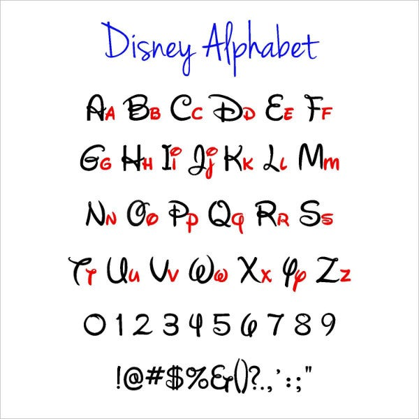 printable disney alphabet letter