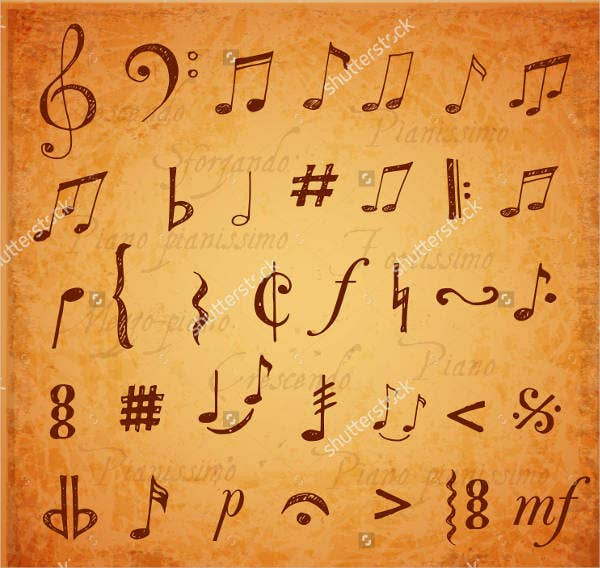 vintage music note brushes