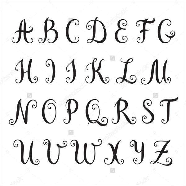 calligraphy fancy alphabet letter