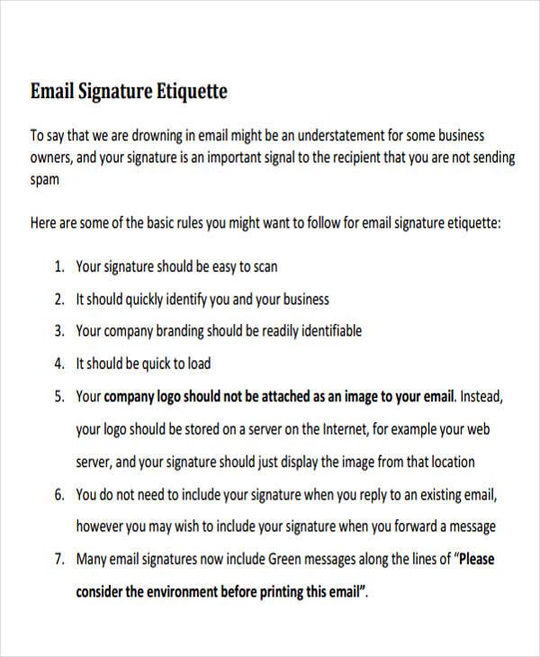 personal email signature etiquette