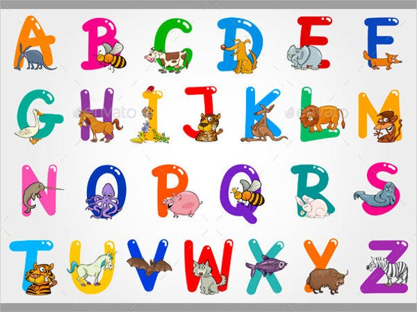 cartoon animal alphabet letter