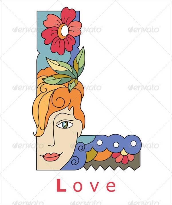 Fancy Love Alphabet Letter