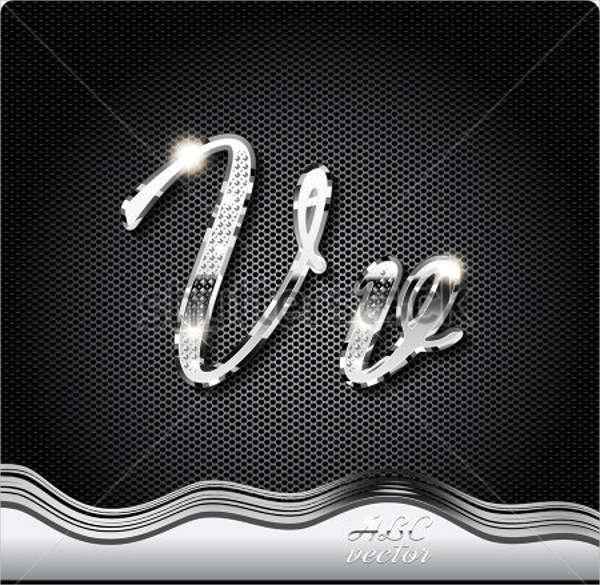 cursive metal alphabet letter