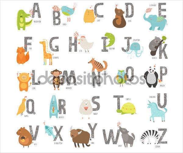 cute animal alphabet letters