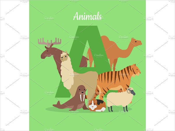 block animal alphabet letter