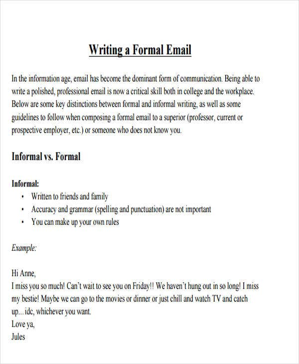example formal e mail The main focus of this lesson will be on writing semi-formal emails, and the  students  studying the differences between formal letters, and informal and semi -formal email  as an example, i have my students read an excellent article from  the.