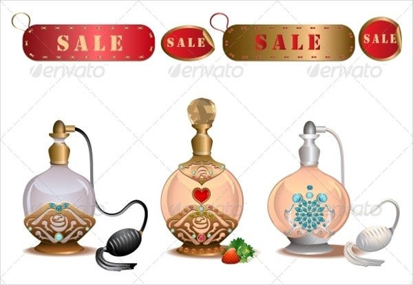 perfume bottles with sales labels