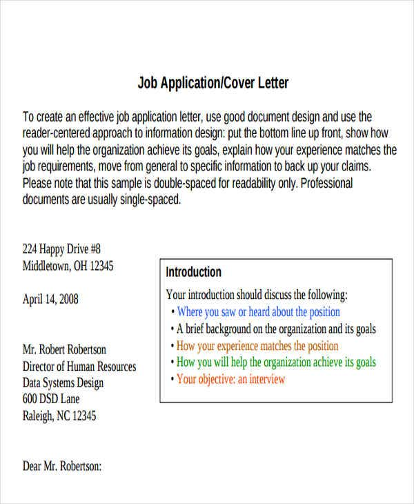 Formal Job Application Email Template
