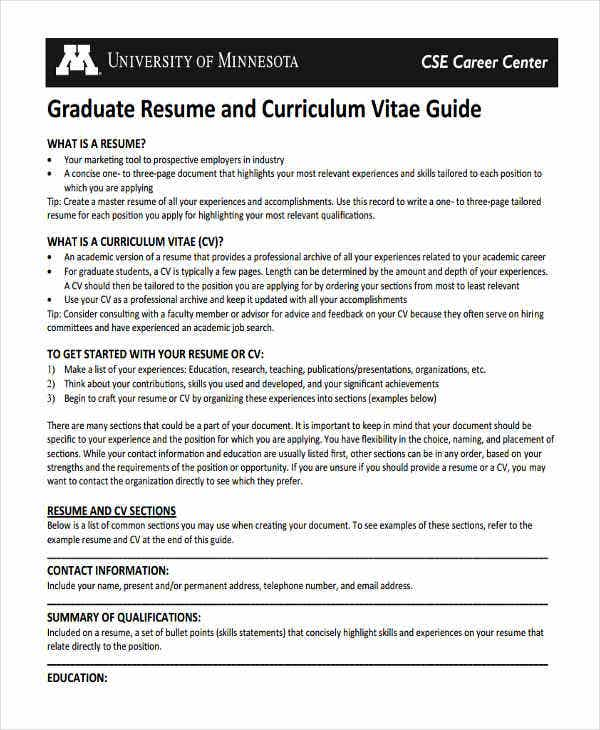 engineering graduate fresher resume guide template - Master Resume Template