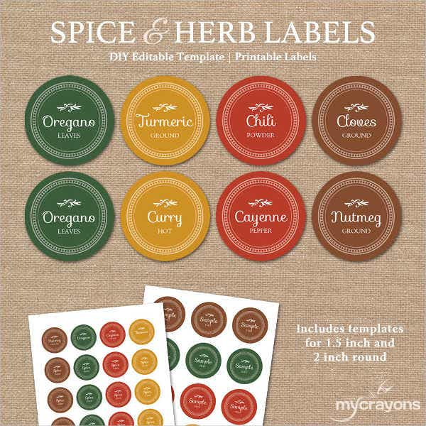 printable spice jar label